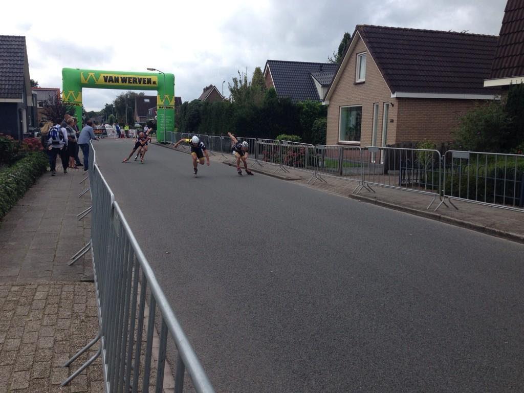 Winst NK 500m weg jun a 2014 Rick, Kay, Tjeu, Lars