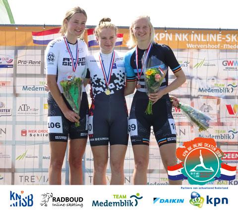 Sascha Schenk (2e) en Klaske Baars (3e) op het podium